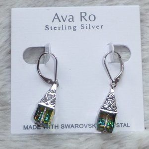Ava Ro Sterling Silver Swarovski Crystal Earrings